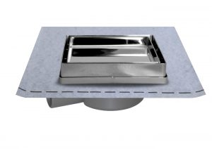 Adjustable cover with tile holder and waterproofing membrane