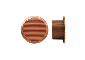 Round copper grating with plastic outlet