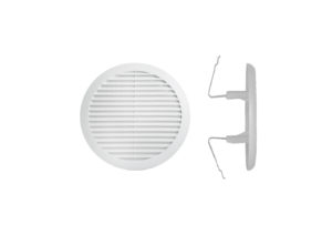 Round plastic ventilation grating with springs